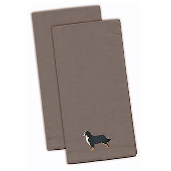 Bernese Mountain Dog harmaa kirjailtu keittiö pyyhe setti 2