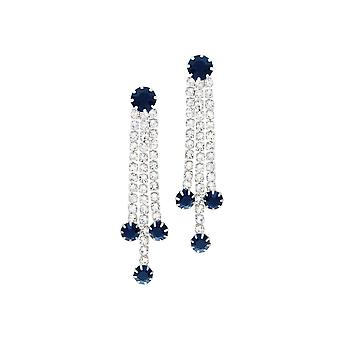 Eternal Collection Grandeur Navy Blue And Clear Diamante Drop Clip On Earrings