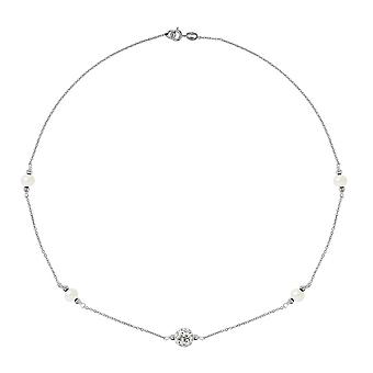 White, Crystal and Silver Culture Daislike necklace 925 4066
