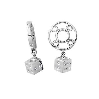 Storywheels Silver & Diamond Dice Dangle Charm S185D