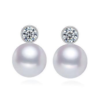 925 Sterling Silver Bezel Pearl Earrings