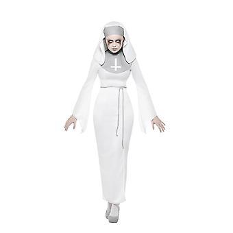 Haunted asyl Nun kostym, Halloween vuxen fancy dress, Storbritannien storlek 12-14
