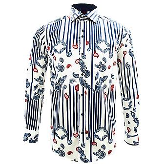 Guide London Dripping Paisley Print Pure Cotton Long Sleeve Mens Shirt