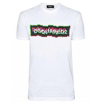 T-shirt Dsquared2 White Digital Logo Print