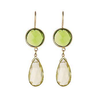 Gemshine øredobber grønne peridotes og Citrin gemstone drop 925 sølv belagt