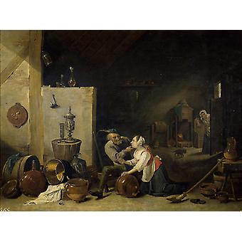 古い農民は、キッチンメイドを愛撫,デビッド・テニアーズ,50x38cm