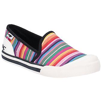 Rocket Dog Womens Jazzing Slip Eden Stripe Slip On Beach Shoe Red Multi