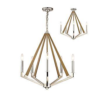 Diyas Hilton pentagonal hänge 5 ljus E14 polerad nickel/taupe trä