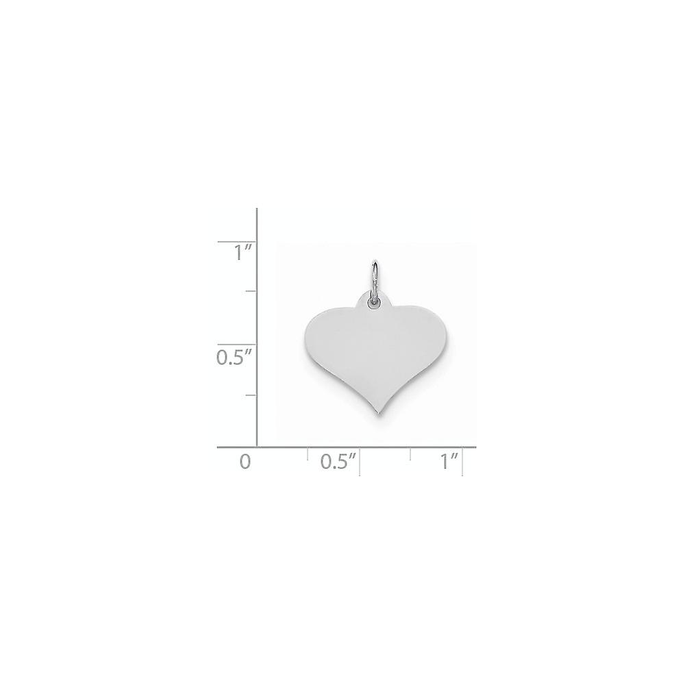 14k White Gold Plain .011 Gauge Engravable Love Heart Disc Charm Pendant Necklace Jewelry Gifts for Women