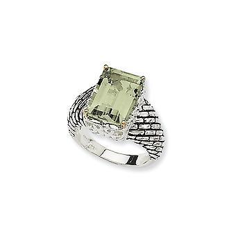 925 Sterling Zilver Met 14k 6.80Groene Amethist Ring Maat 6 Sieraden Cadeaus voor Vrouwen - 6.80 cwt