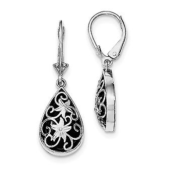 925 Sterling Silver Sparkle Cut Simulated Onyx Leverback Earrings Jewelry Gifts for Women