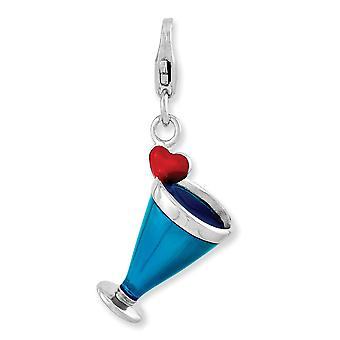 925 Sterling Silver Fancy Lobster Closure Enameled 3 d Blue Hawaii With Lobster Clasp Charm Pendant Necklace Jewelry Gif