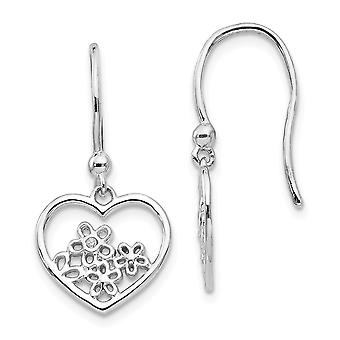 925 Sterling Silver White Ice Love Heart Shaped With Flower Shepherd Hook Earrings Jewelry Gifts for Women