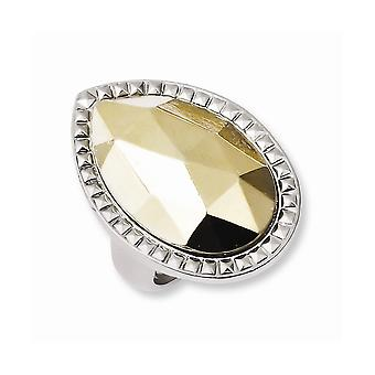 Laundry Silver tone With Simulated Gold tone Stone Ring Jewelry Gifts for Women - Ring Size: 7 to 8