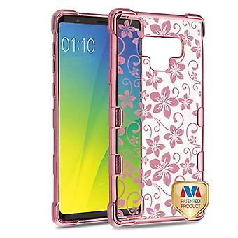 MYBAT Rose Gold plating & Hibiscus bloem TUFF Klarity Candy Skin cover voor Galaxy Note 9