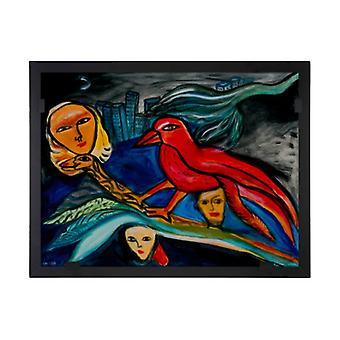 Glass vision-painting-art glass-Red Bird Design Ulrica Hydman Vallien