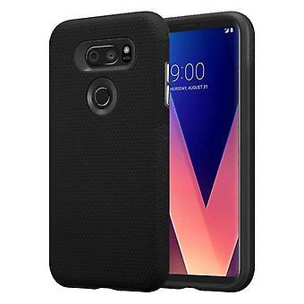Cadorabo Hülle für LG V30 Case Cover - Outdoor Handyhülle mit extra Grip Anti Rutsch Oberfläche im Triangle Design aus Silikon und Kunststoff - Schutzhülle Hybrid Hardcase Back Case