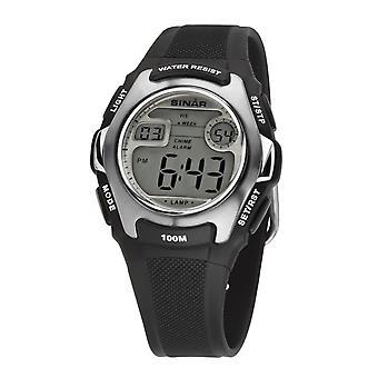 SINAR Youth Watch Kids Wristwatch Digital Quartz Silicone XE-50-1 Black Silver