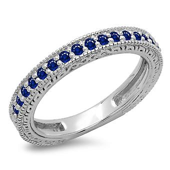 Dazzlingrock Collection 0.33 Carat (ctw) 14K Round Blue Sapphire Millgrain Wedding Stackable Band 1/3 CT, White Gold