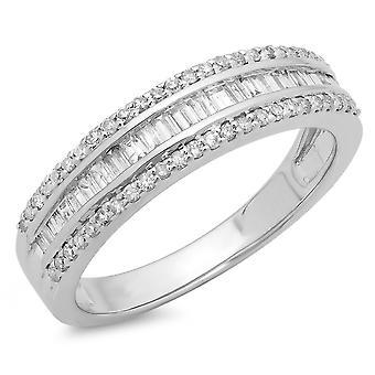 Dazzlingrock Collection 0.60 Carat (ctw) 14K Round & Baguette Diamond Ladies Bridal Anniversary Band Ring, White Gold