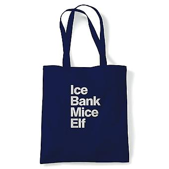 Ice Bank Mice Elf Funny Tote | Dirty Adult Rude Age Related Vulgar Naughty Joke | Reusable Shopping Cotton Canvas Long Handled Natural Shopper Eco-Friendly Fashion