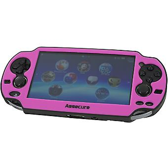 Soft silicone skin protector cover bumper grip case for sony ps vita 1000 ? pink & black