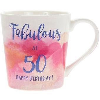 Lesser & Pavey Watercolour Happy Fabulous 50th Mug