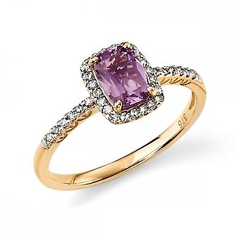 Elements Gold Elements 9ct Yellow Gold And Amethyst Cushion Ring GR281M