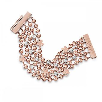 Guess Jewellery Guess Multi Row Rose Gold Flower Crystal Chain Bracelet UBB78138-L
