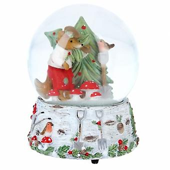 Gisela Graham Woodland Creatures Music Snow Dome