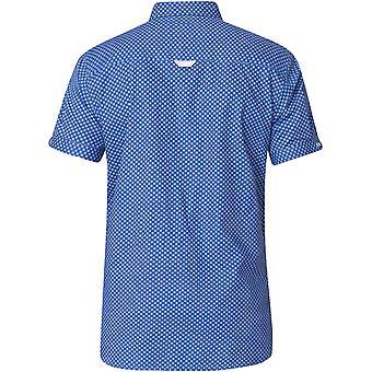 Duke D555 Mens Bobby Big Tall King Size Cotton Short Sleeve Buttoned Shirt- Blue