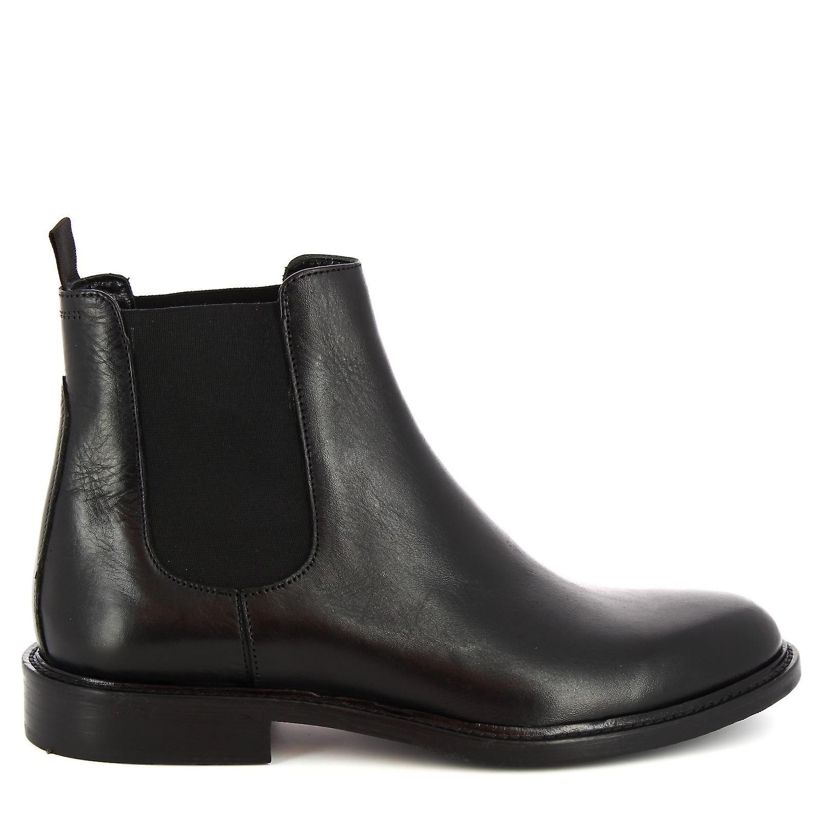 Leonardo Shoes Men-apos;s Bottes De Cheville Élégantes Faites À La Main En Cuir Veau Noir