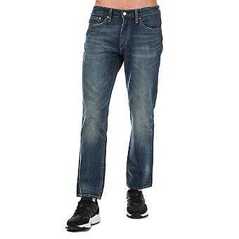 Mens Levis 514 Straight Leg Jeans in donkerblauw-zip Fly-contrast stiksels-