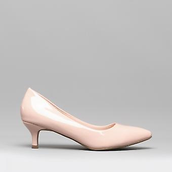 Comfort Plus Texas Ladies Kitten Heel Court Shoes Patent Nude
