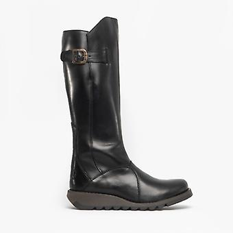Fly London Mol 2 Ladies Leather Tall Boots Black