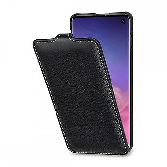 Case For Samsung Galaxy S10 Ultraslim Grained Black In True Leather