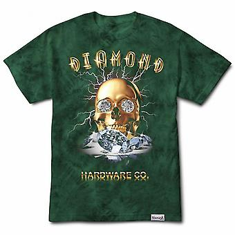 Diamond Supply Co Gold Skull Tie Dye Tee Vert