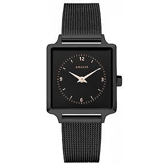 Zegarek Amalys ALISON - IP czarny cyferblat czarny Siatka czarna kobieta bransoleta ze stali