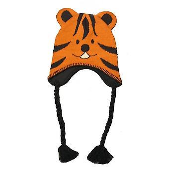 Crianças meninos novidade cara Animal Peru estilo Beanie chapéu de inverno térmica quente tigre