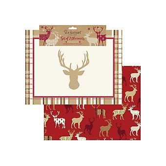 Cooksmart Christmas Highland hjort stoff Placemats