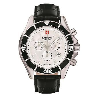 Sveitsin Alpine sotilaallinen Miesten Watch Chronograph analoginen kvartsi 7040.9532 SAM nahka