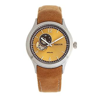 Heritor Automatic Antoine Semi-Skeleton Leather-Band Watch - Silver/Umber
