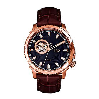 Reign Bauer Automatic Semi-SkeletonLeather-Band Watch - Rose Gold/Black