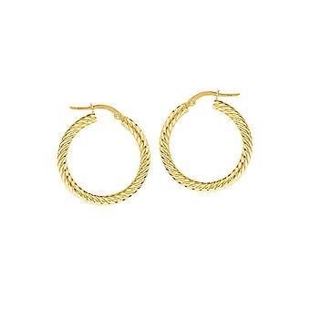 10k oro amarillo 3x25mm cuerda Twist aro pendientes joyería regalos para las mujeres - 1.8 gramos