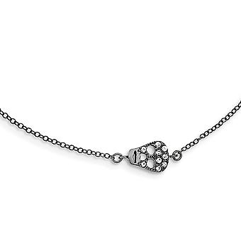 925 Sterling Argent Argent Noir Rhodium CZ Cubic Zirconia Crâne de Diamant Simulé Avec 2inch Ext. Necklace 16 Inch Bijoux Gif