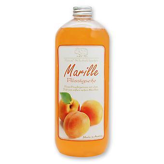 Florex Flüssigseife mit Schafmilch Marille purer Fruchtgenuss von süßen reifen Marillen 1 Liter Flasche  Nachfüller