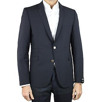Curved-cut wool blazer