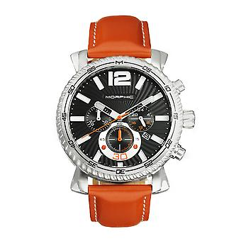 Morphic M89 Series Chronograph Leather-Band Watch w/Date - Camel/Black