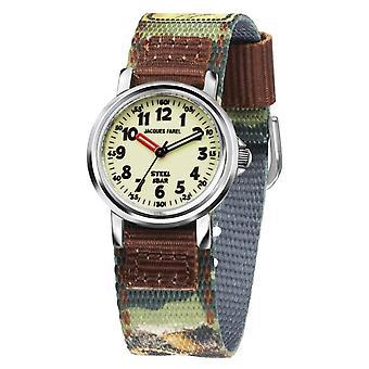 JACQUES FAREL Kids Armbandsur Analog Quartz Boys Textil Band Dino KST 7711