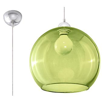 Sollux BALL 1 Light Glass Dome Plafond Pendant vert, Chrome SL.0254